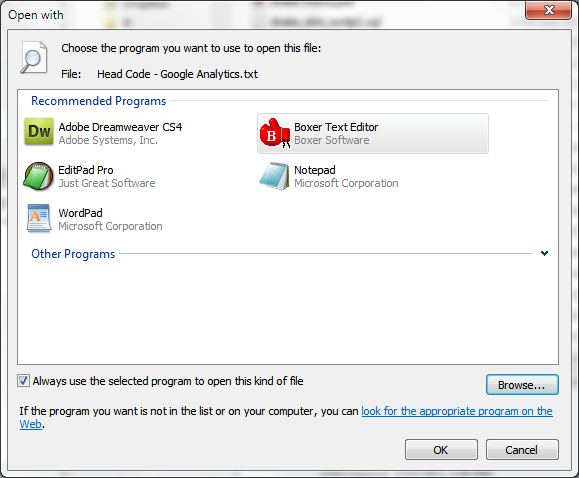 how to add program as default program win 7