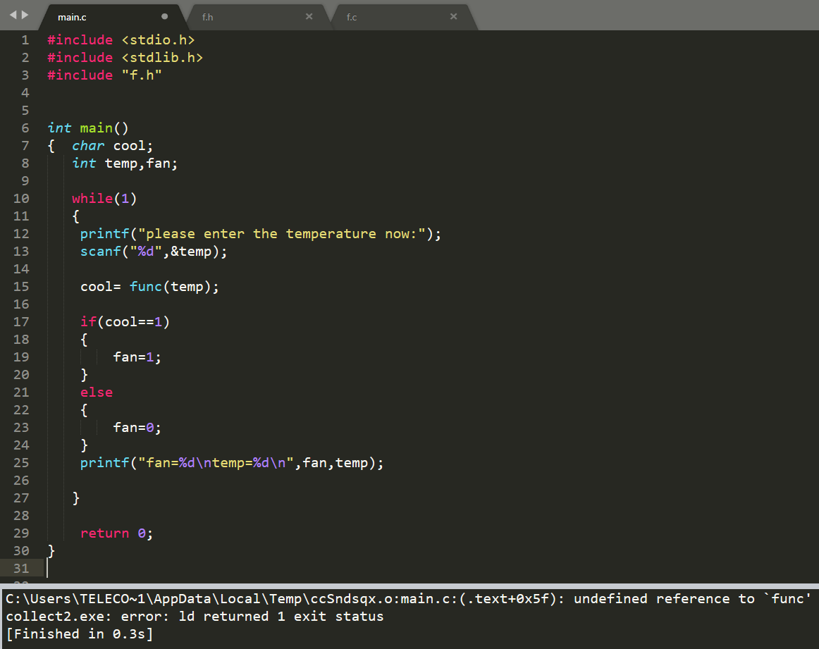Sublime text 3 C compiler (how can i use functions with