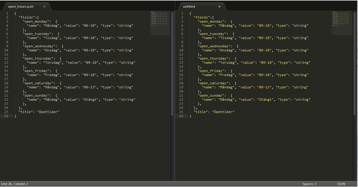 json highlighting to the left javascript highlighting to the right