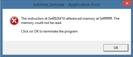 The instruction at 0x4882bf18 referenced memory at 0xffffffff. The