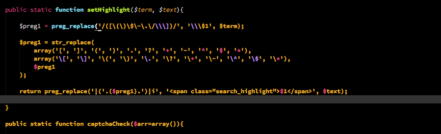 PHP regex breaks syntax highlight - Technical Support