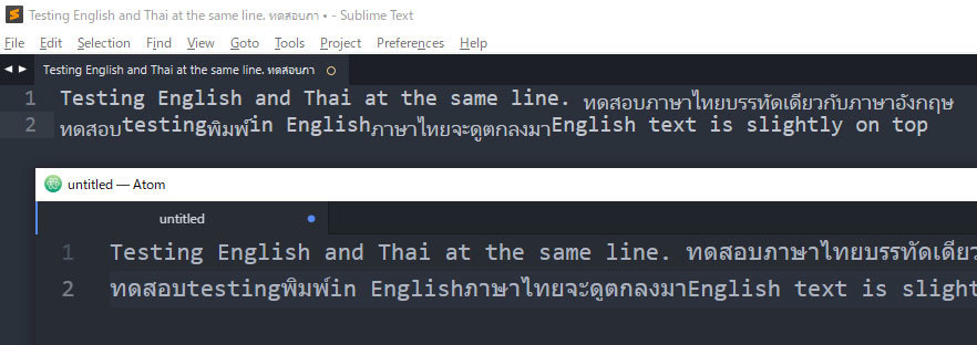 Thai alphabet can not show correctly - Technical Support - Sublime Forum