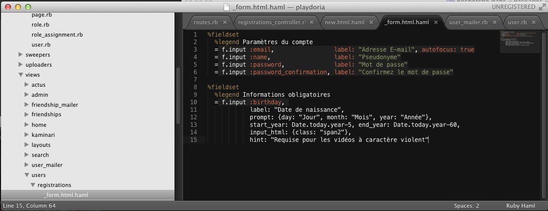 HAML: bad colorisation when overlap method options