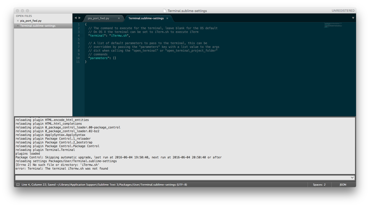 Open iTerm2 2 9 20160523 with sublime_terminal Package