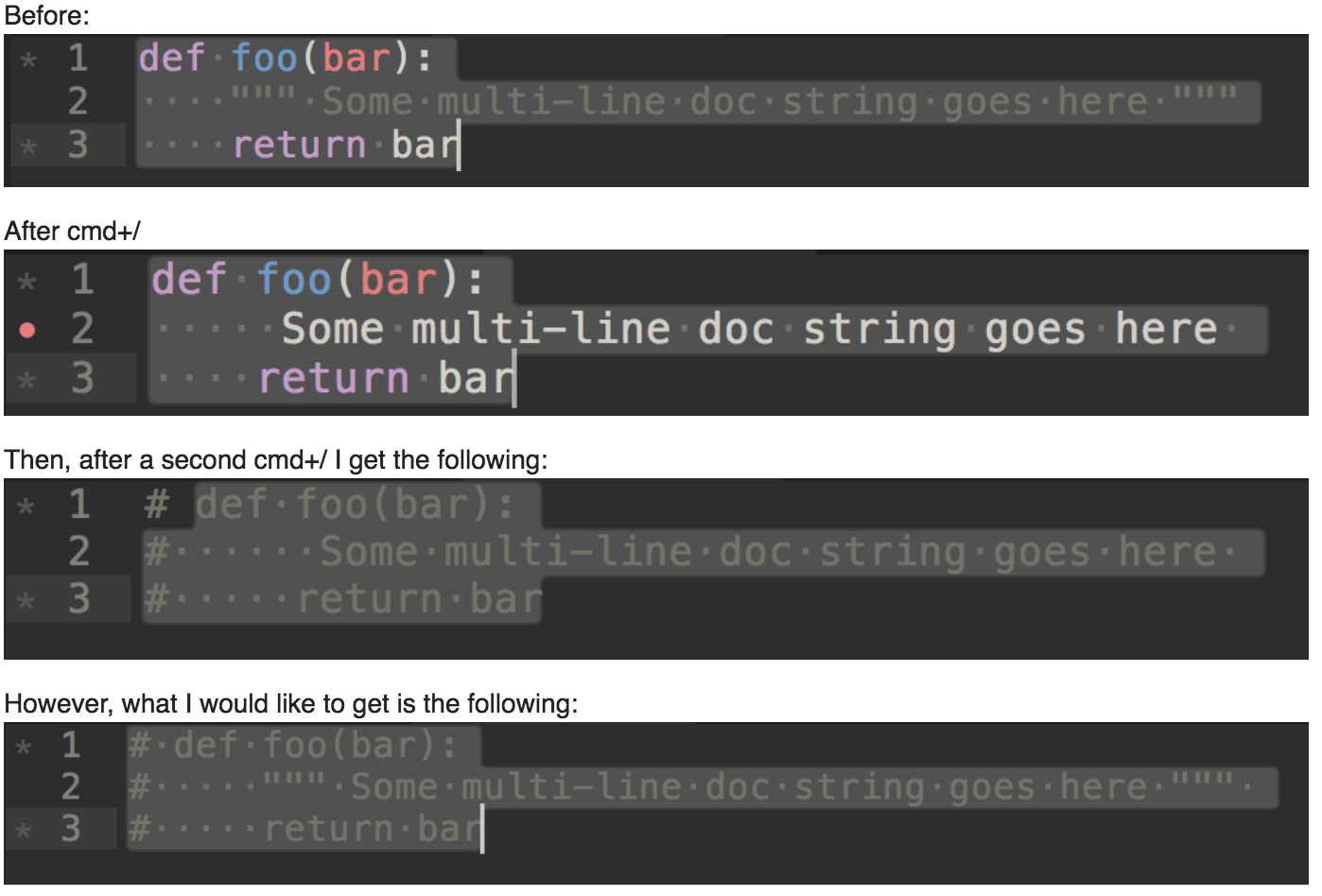 Multiline python doc string with treated as inline comment